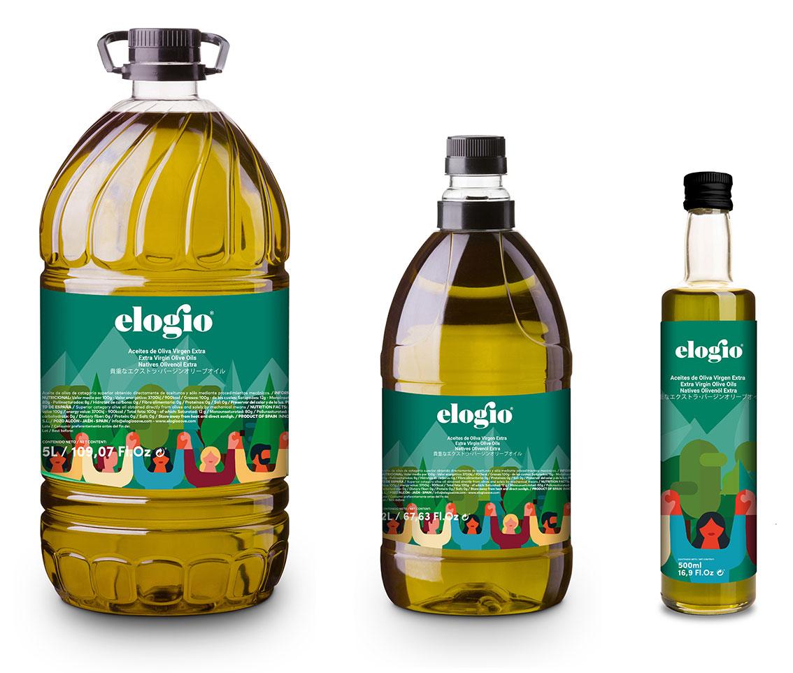 diferentes envases de aceite verde